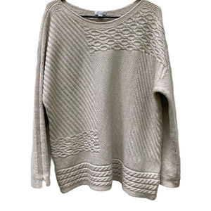 J.jill  boatneck cotton blend cable knit sweater